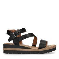 74886bbfe50 No Stress Zwarte leren sandalen met sleehak € 69, Shop nu >