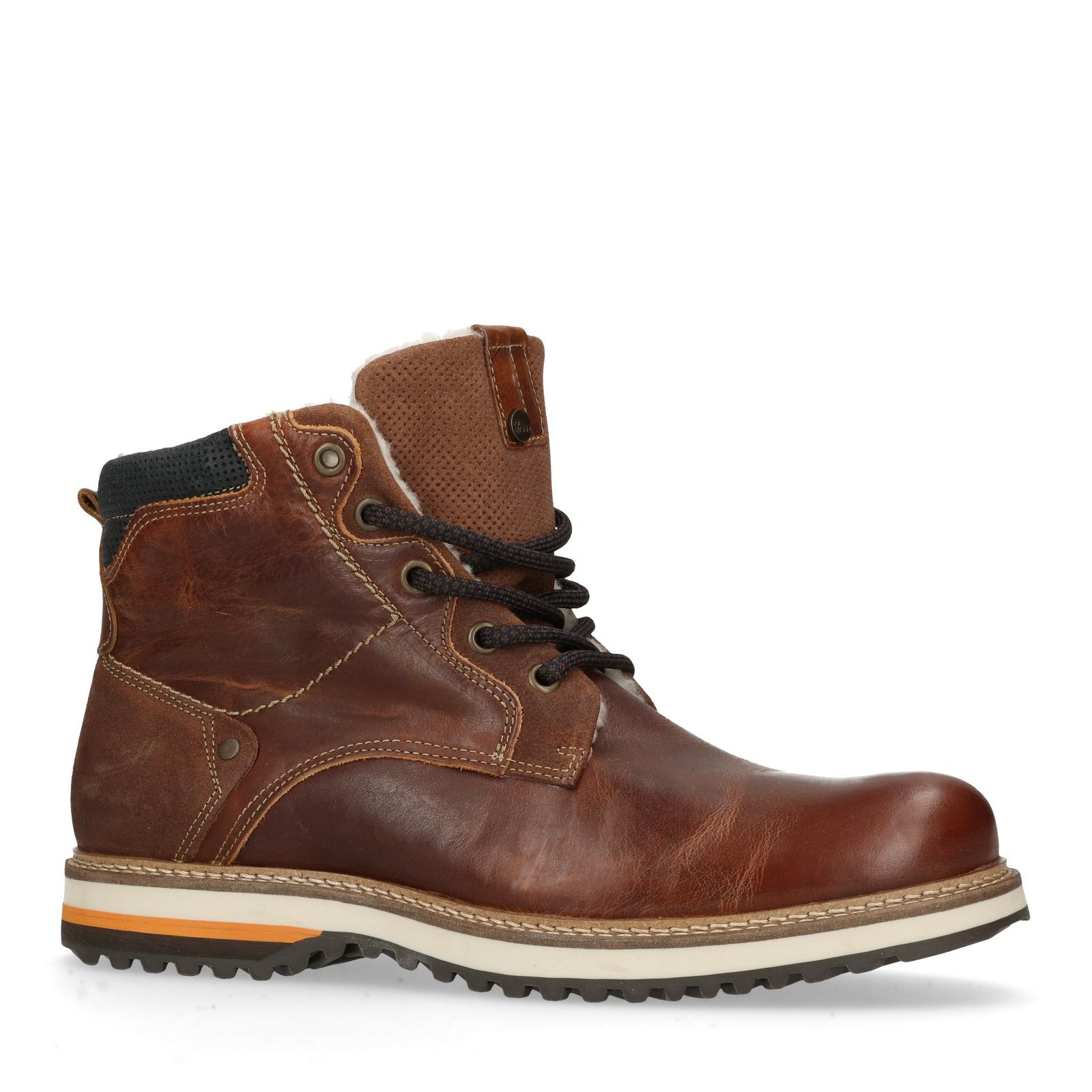 No Stress Cognacfarbene Worker Boots aus Leder