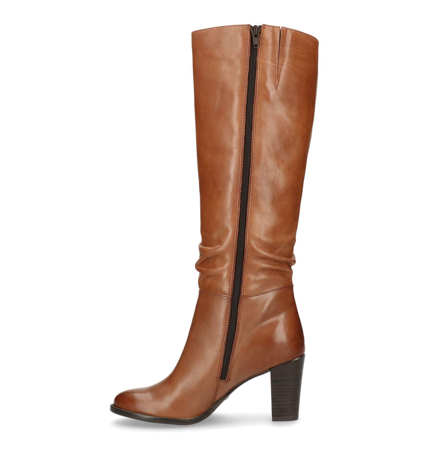 Ongekend Cognac hoge laarzen met hak - Dames | MANFIELD IH-11