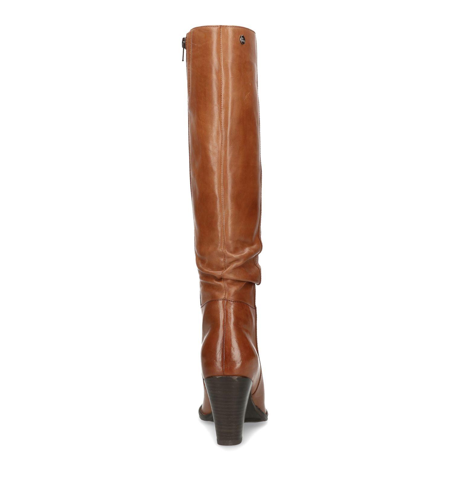 Ongebruikt Cognac hoge laarzen met hak - Dames | MANFIELD XA-26