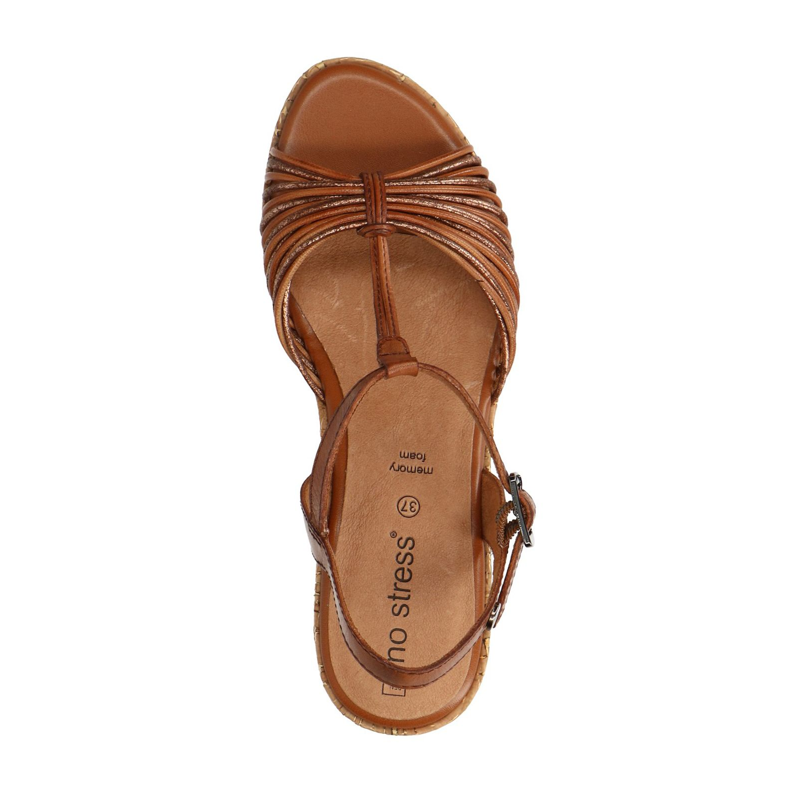 san francisco 1478c a993e Cognac sandalen met hak en kurkzool - Dames   MANFIELD