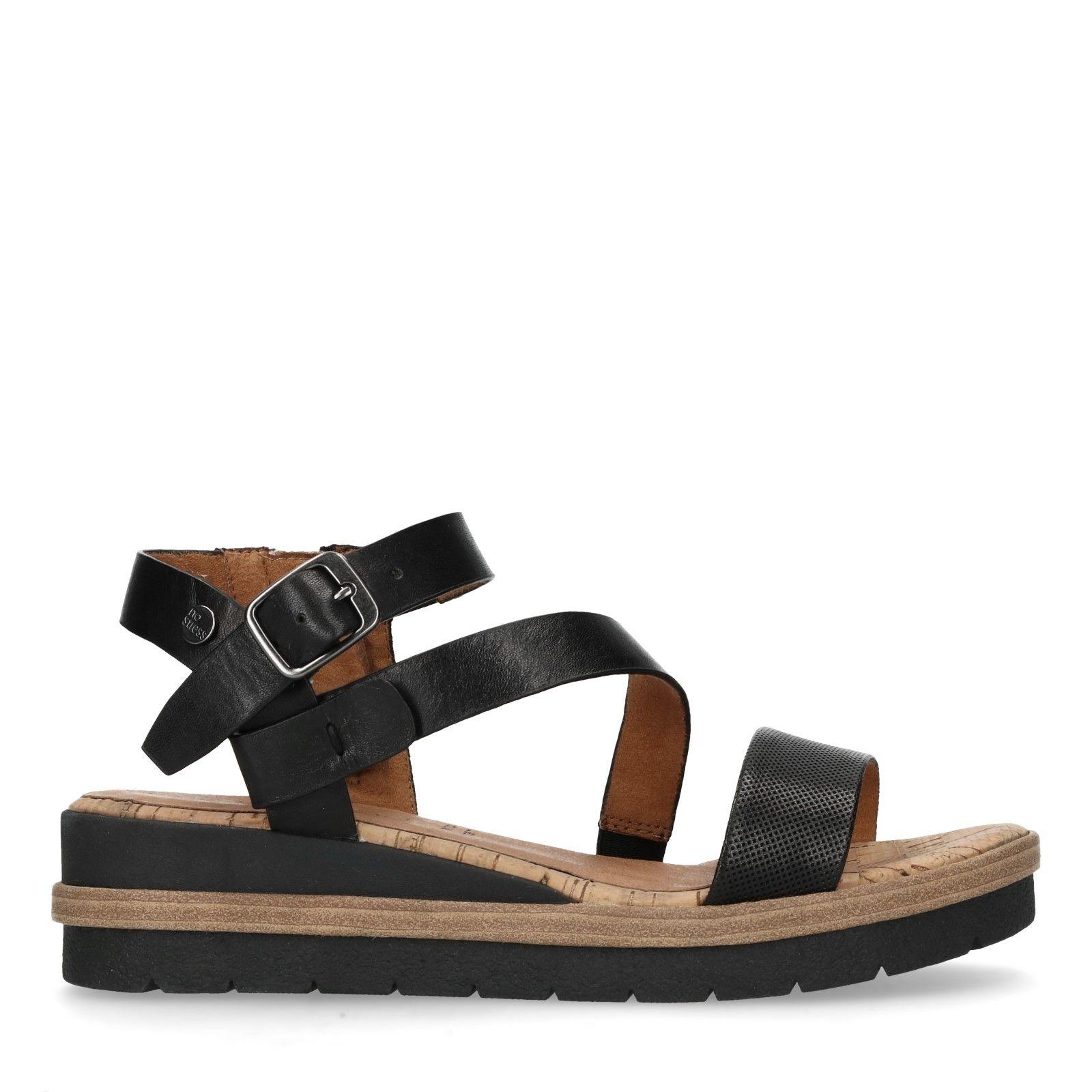 No Stress zwarte leren sandalen | Intreza.nl | Zwart leer