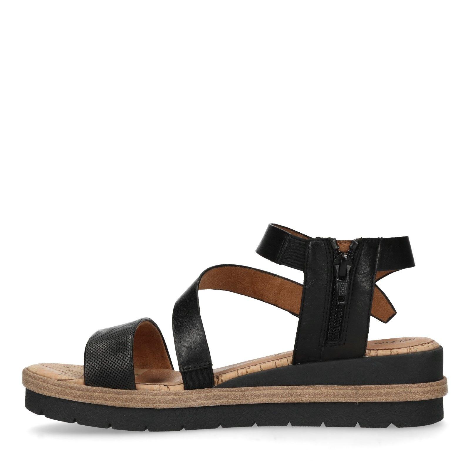 7cc591e0090fbd Zwarte leren sandalen met sleehak - Dames   MANFIELD