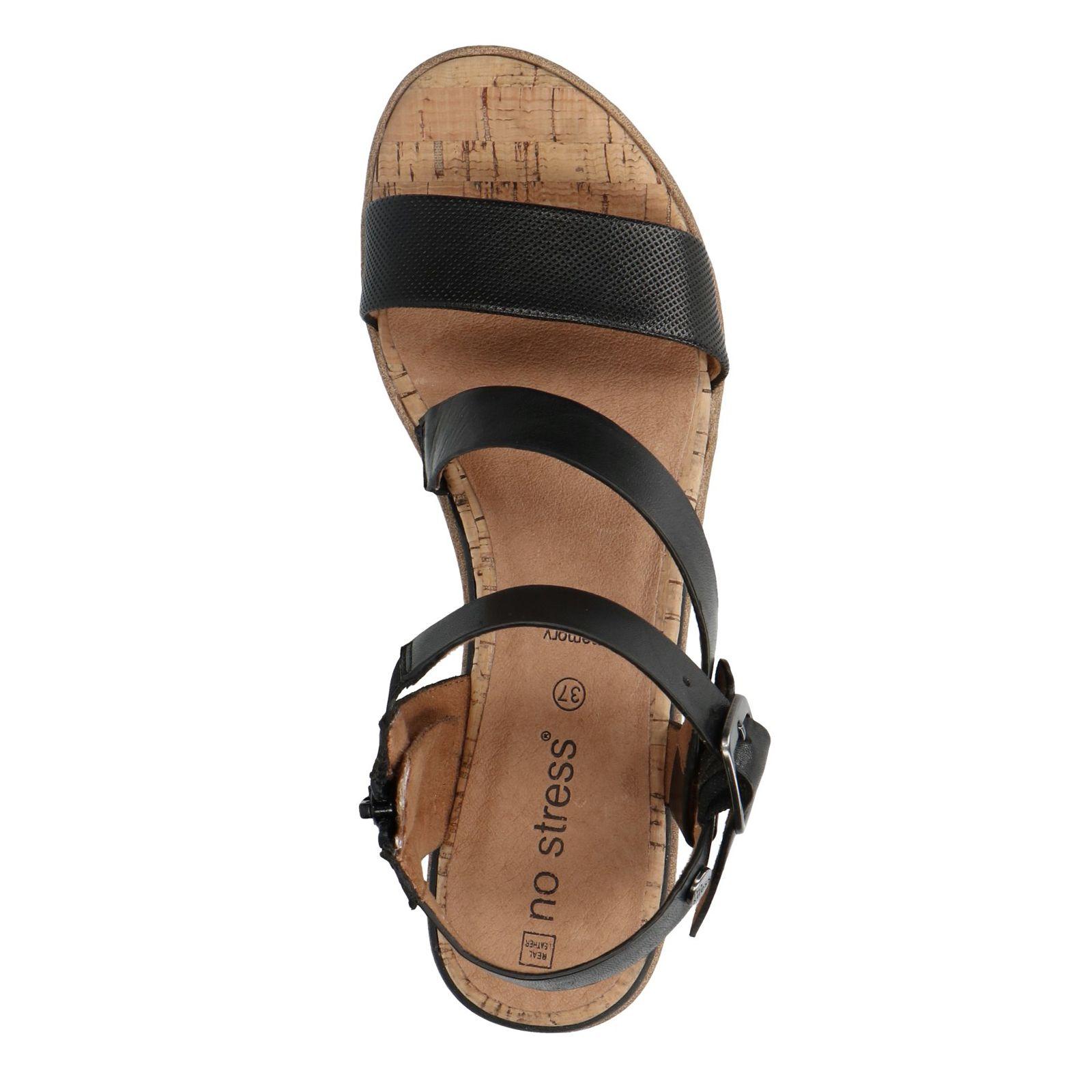 Zwarte leren sandalen met sleehak Dames | MANFIELD