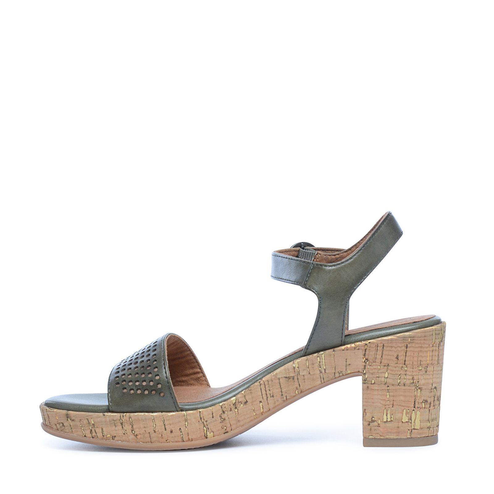 3f4188892 Groene sandalen met hak en motief - Dames   MANFIELD