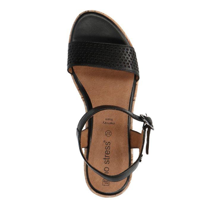 more photos 60c91 49045 No Stress Zwarte sandalen met kurk hak