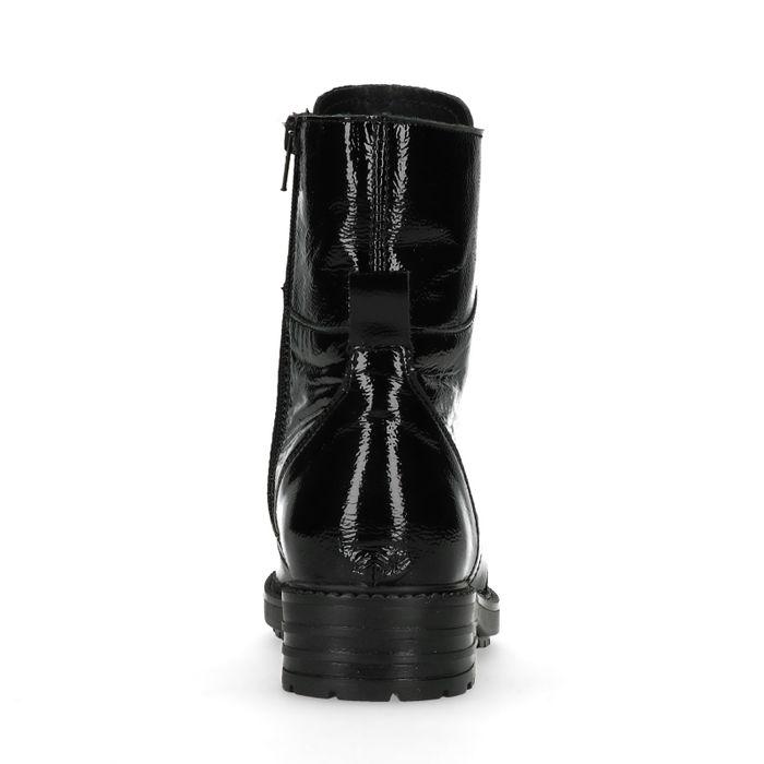 Zwarte lakleren biker boots met rits