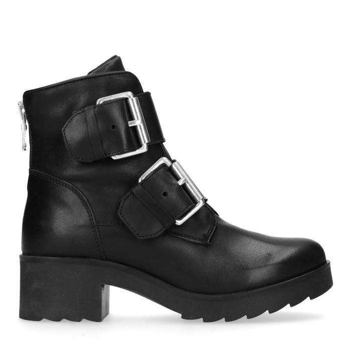 Zwarte biker boots met twee gespen