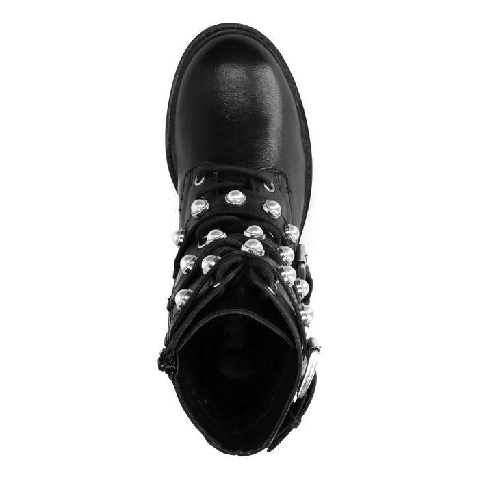 Zwarte hoge biker boots met gespen en parels