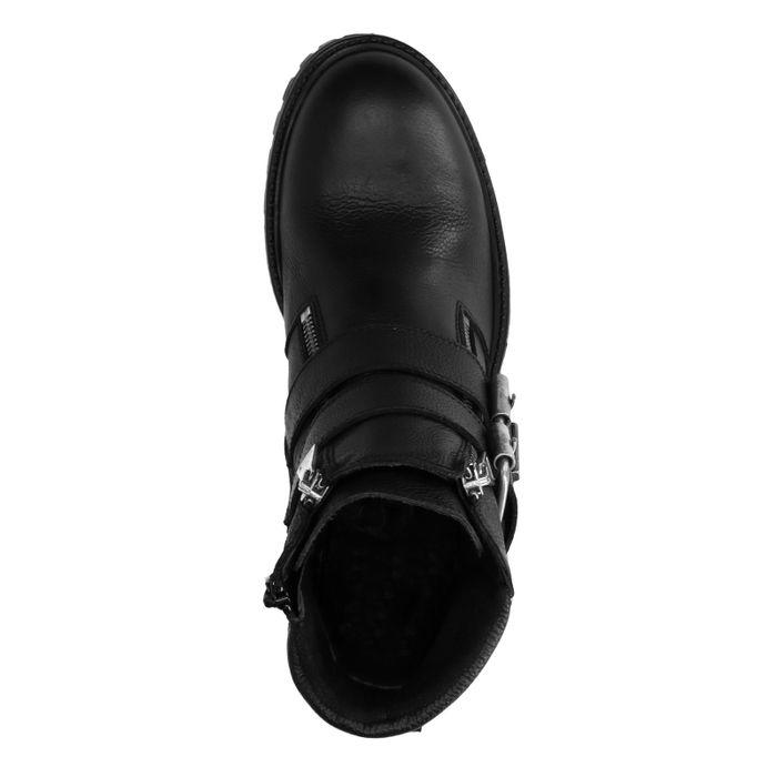 Zwarte biker boots met gespen en sierrits
