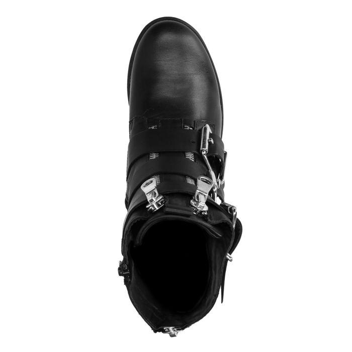 Zwarte biker boots met grove gespen en ritsen