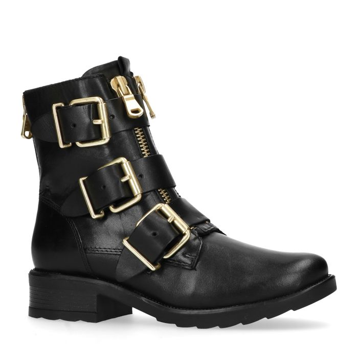 Zwarte biker boots met gouden gespen en ritsen