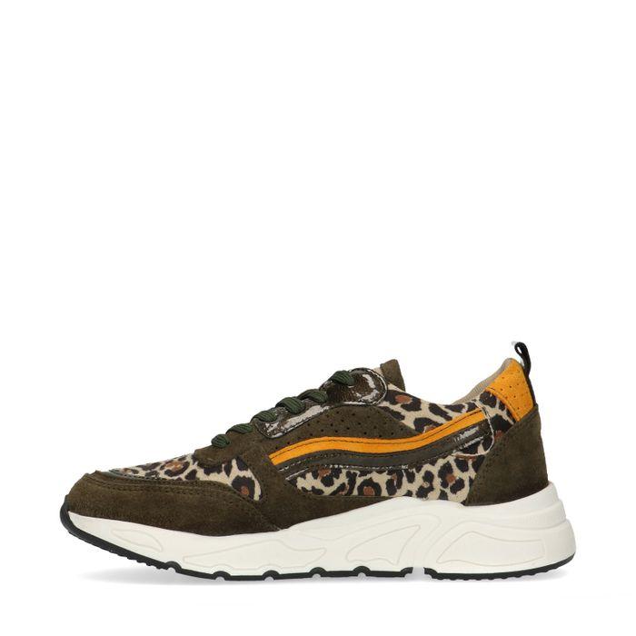 Groene sneakers met panterprint