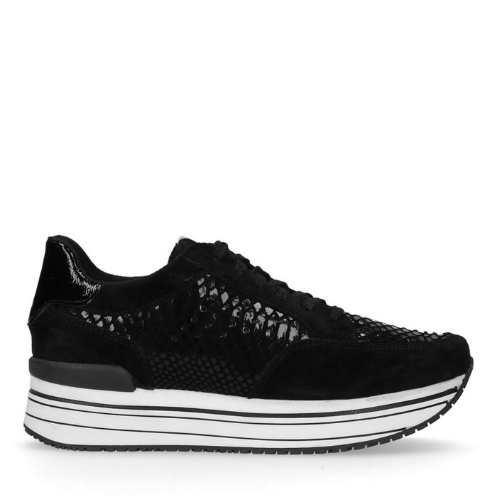 Zwarte platform sneakers met snakeskin