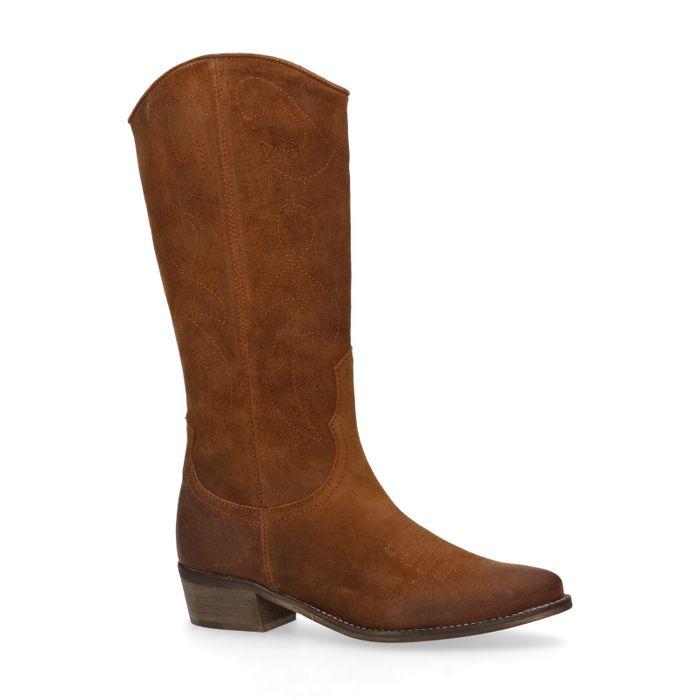 Bottes style cowboy en cuir - marron