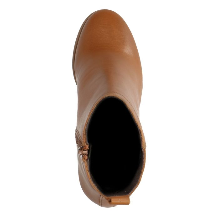 Bottines à talon droit - cognac