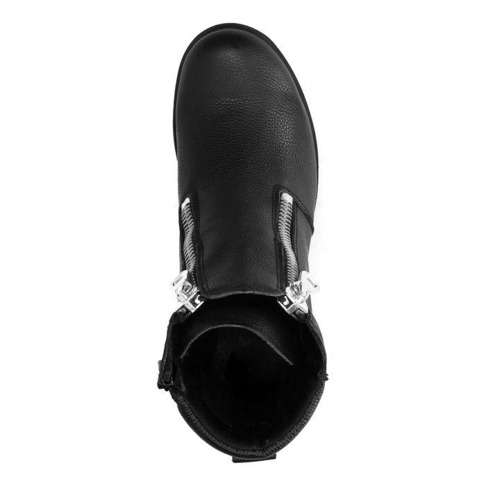 Bottines motardes en cuir avec deux fermetures éclair - noir