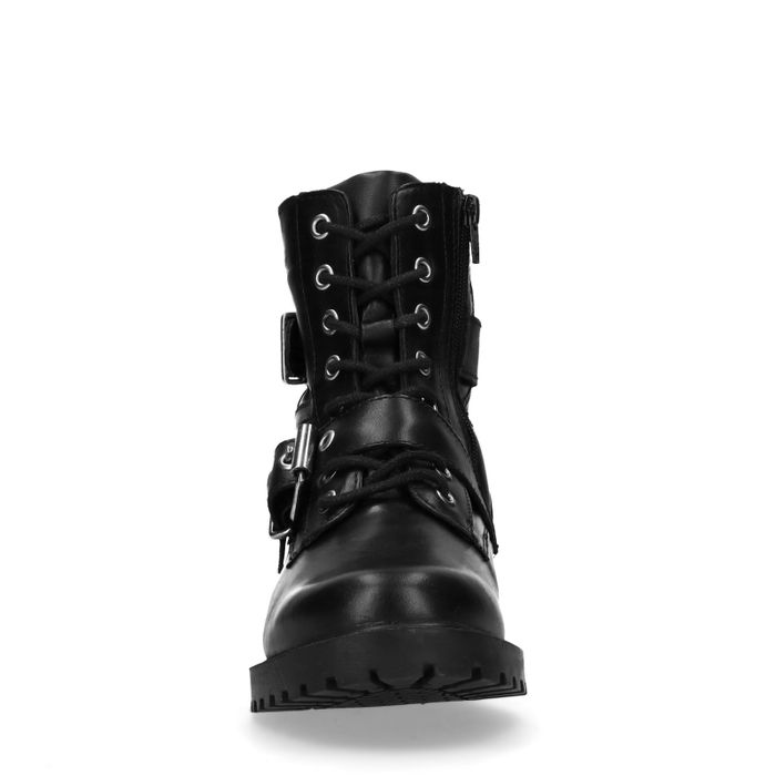 Bottines motardes en cuir avec lacets et boucles - noir