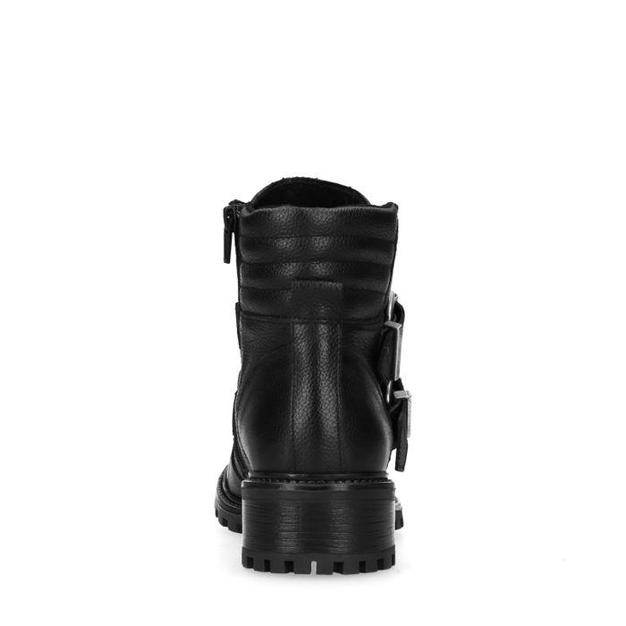 Bottines motardes en cuir avec boucles et fermeture décorative - noir