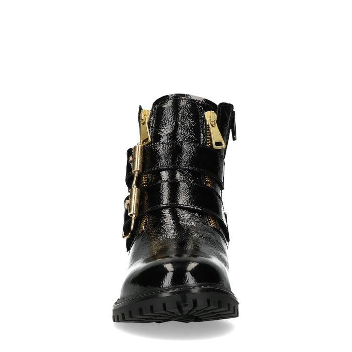 Bottines motardes en cuir verni avec détails dorés - noir
