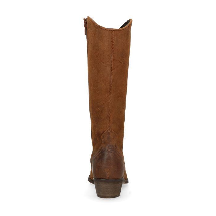 Braune Cowboystiefel aus Leder