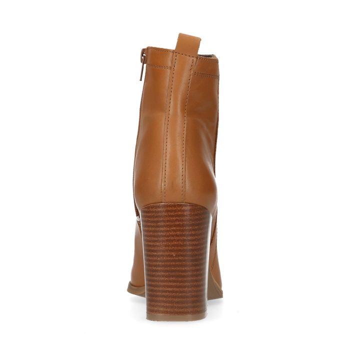 Cognacfarbene Stiefeletten mit geradem Absatz