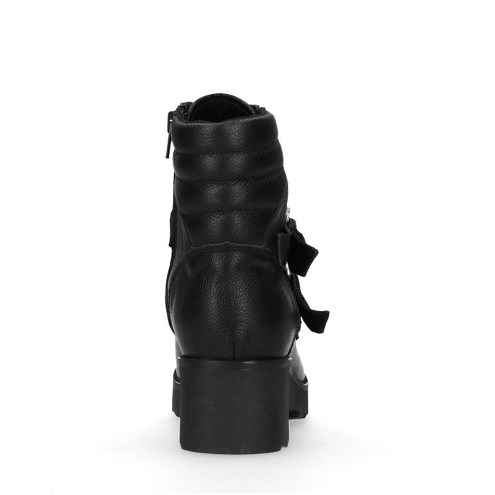 Schwarze Stiefeletten mit Schnallen und Reißverschluss