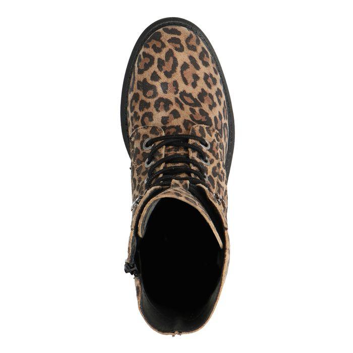Schnürstiefeletten aus Veloursleder mit Leopardenmuster