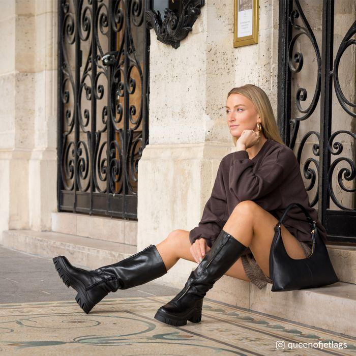 Queen of Jetlags x Sacha zwarte leren hoge laarzen