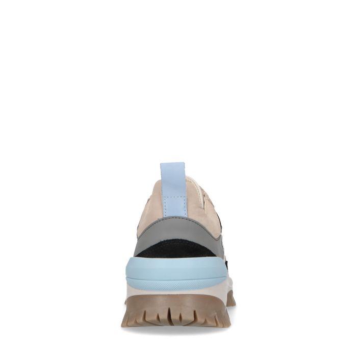 Queen of Jetlags x Sacha beigefarbene Sneaker mit blauen Details