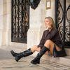 Queen of Jetlags x Sacha schwarze Lederstiefel mit hohem Schaft