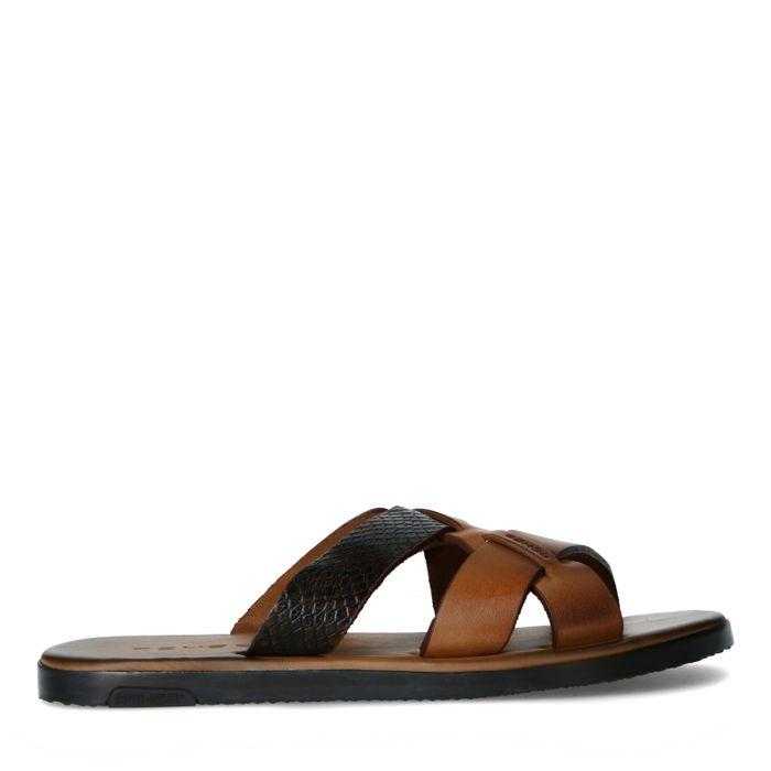 REHAB Roy snake cognac slippers
