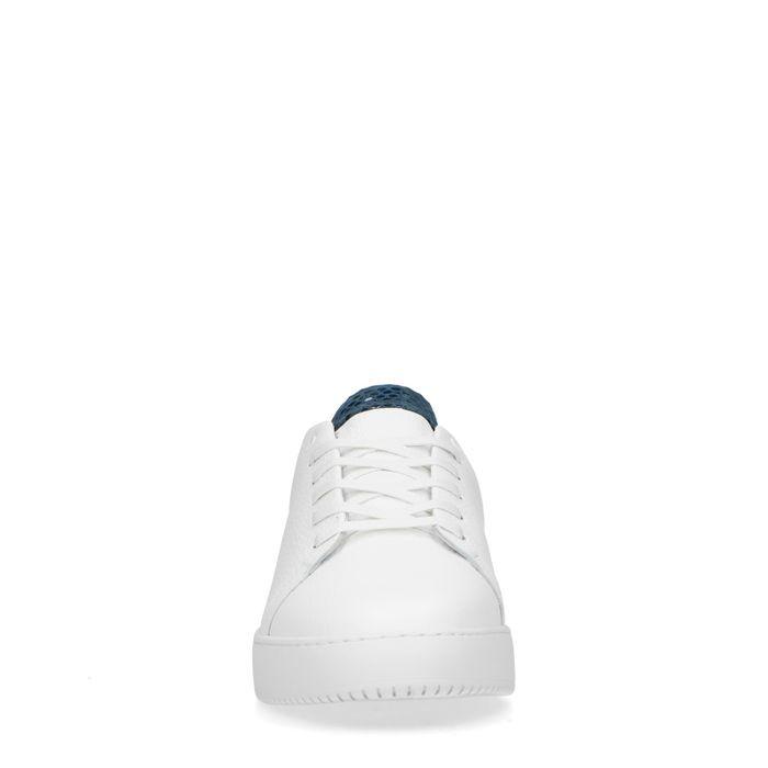 Bas Smit x REHAB witte sneakers blauw hielstuk