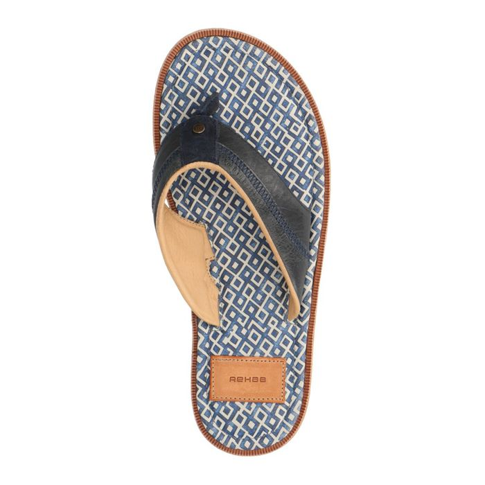 REHAB Raoul blauwe leren slippers