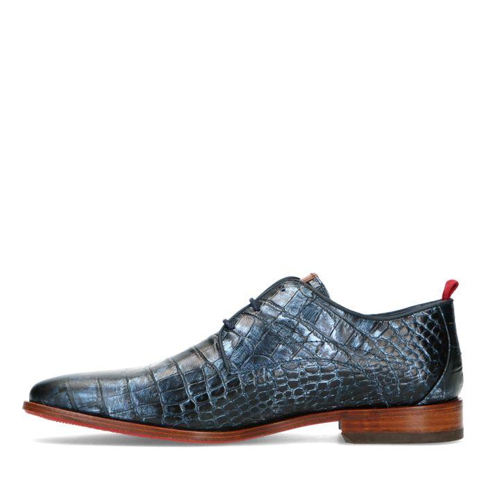 REHAB blaue Schnürschuhe mit Krokomuster