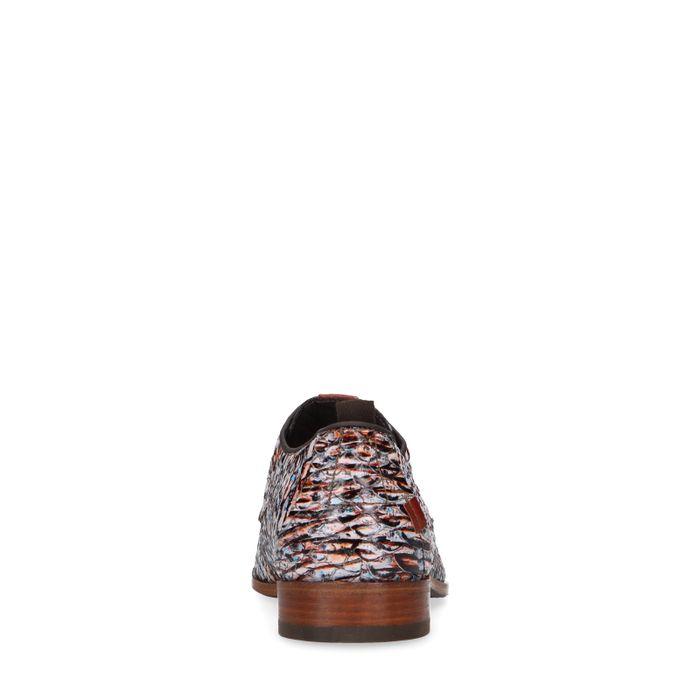 REHAB braune Leder-Schnürschuhe mit Print