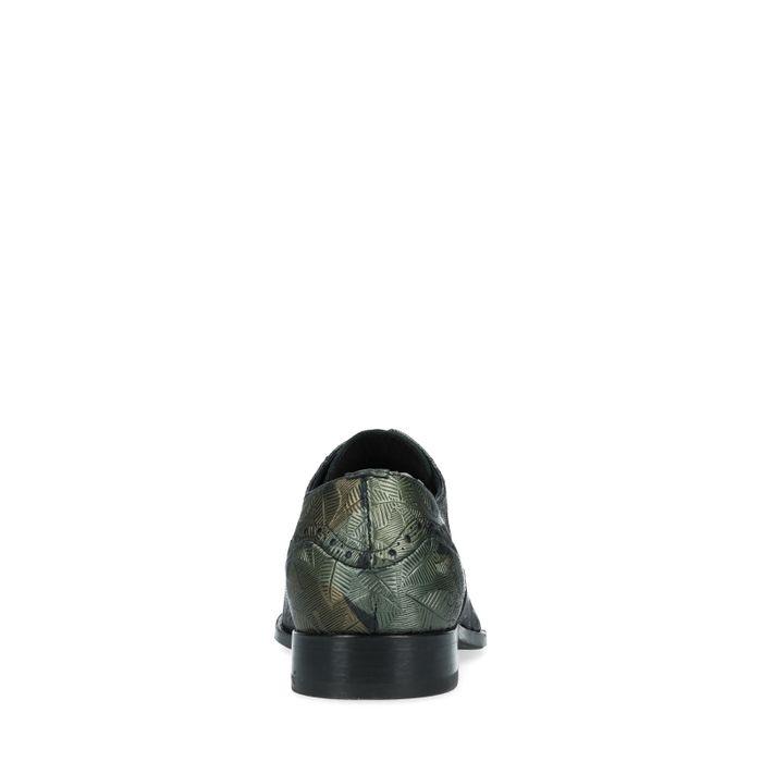 REHAB Glenn Metal Flower dunkelgrüne Schnürschuhe