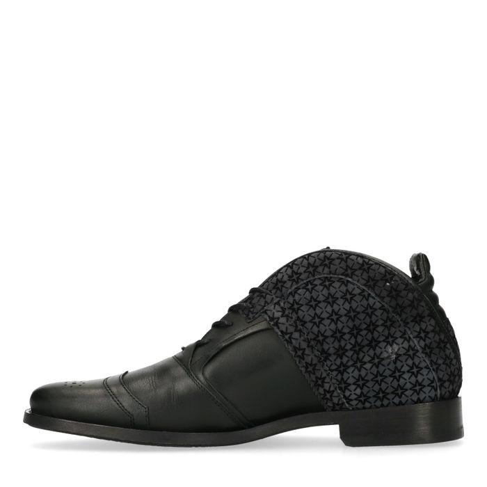 REHAB Kurt II schwarze Schnürschuhe mit Muster