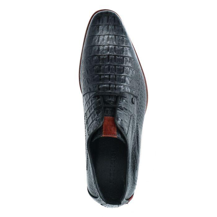 REHAB schwarze Schnürschuhe mit Krokomuster