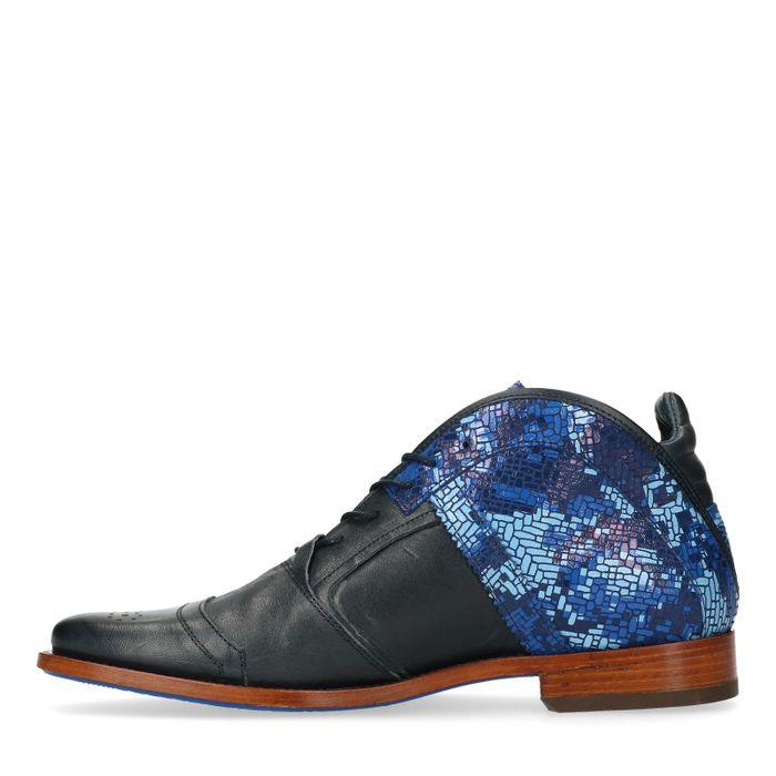 REHAB Kurt II blaue Schnürschuhe mit Muster