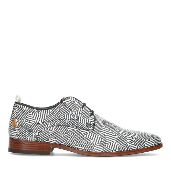 REHAB Chaussures à lacets avec motif noir/blanc