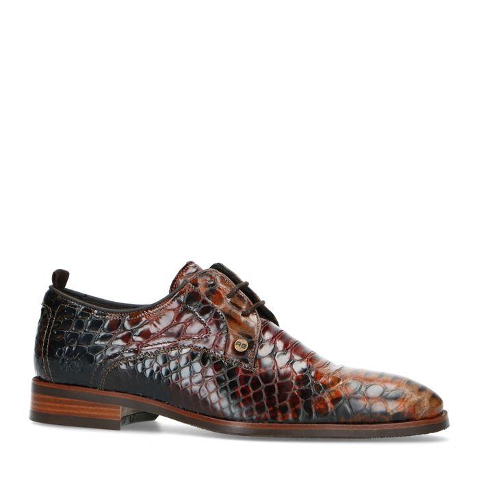 REHAB Chaussures à lacets imprimé serpent - marron