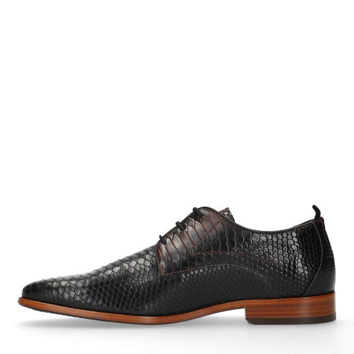 REHAB Chaussures à lacets avec imprimé serpent - marron foncé
