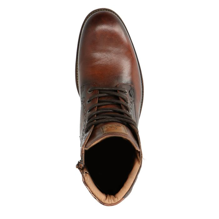 REHAB Neal Croco Army Boots à lacets - cognac