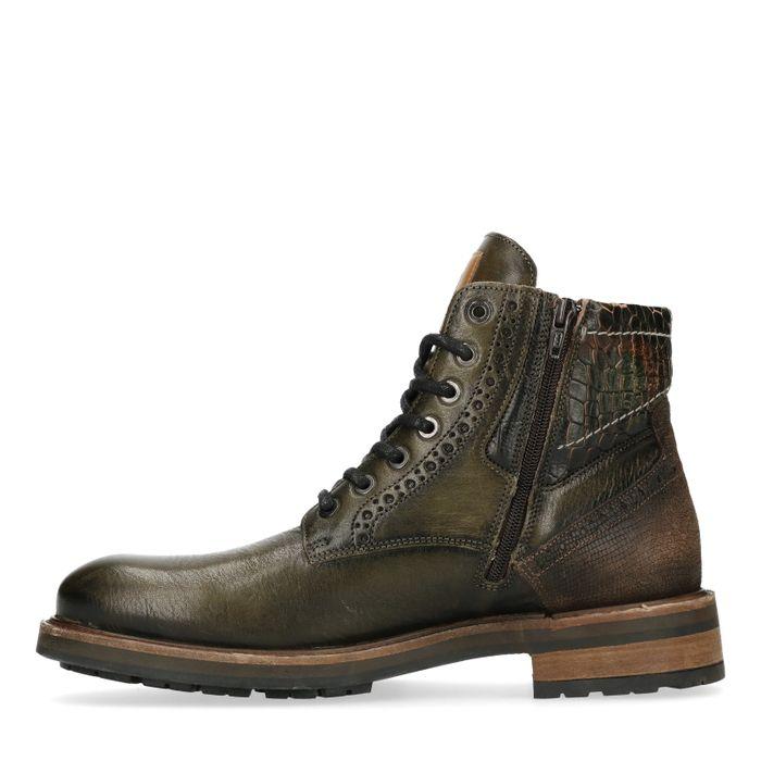REHAB Neal Croco Army Boots à lacets - vert foncé