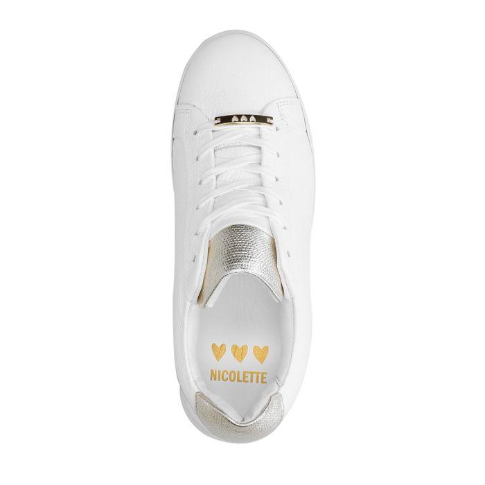 Weiß-goldene Sneaker