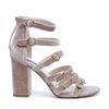 Sandales en velours avec talon - vieux rose