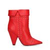 Bottines cuir à talon avec clous - rouge