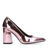 Metallic roze pumps met blokhak