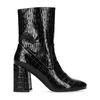 Zwarte lak snakeskin korte laarzen met hak